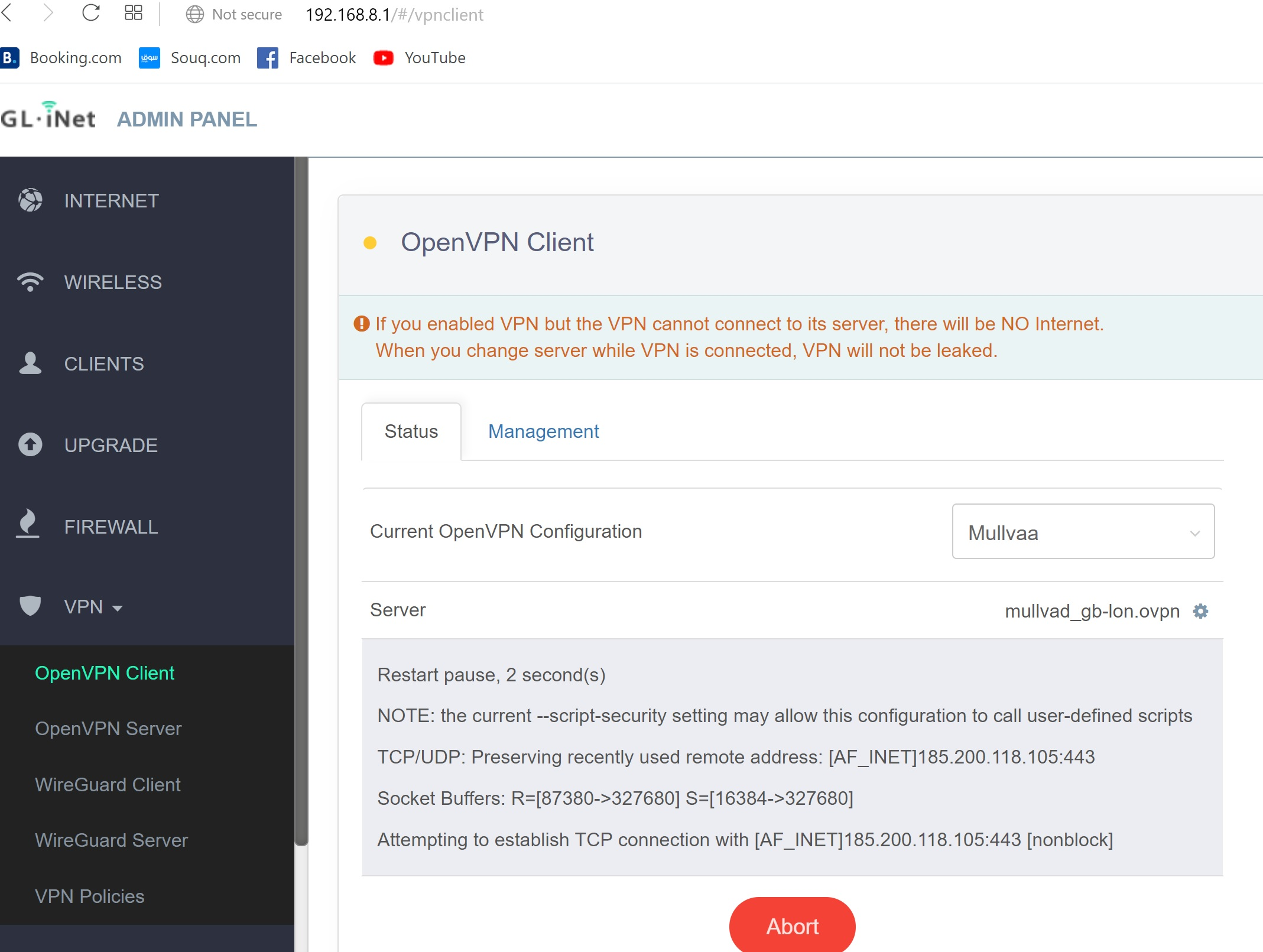 OpenVPN Client never connects (Mullvad) - software - GL iNet